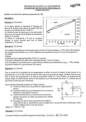 Examen de Selectividad: Tecnología industrial. Navarra. Convocatoria Julio 2013