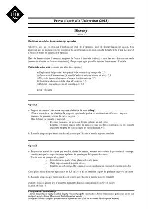 Examen de Selectividad: Diseño. Islas Baleares. Convocatoria Septiembre 2013
