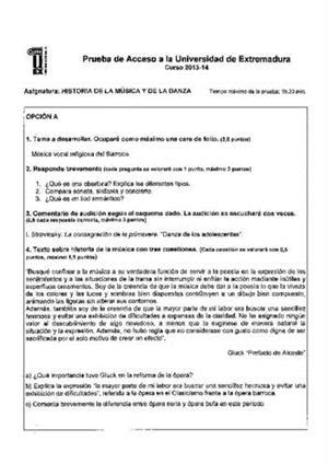 Examen de Selectividad: Historia de la música y la danza. Extremadura. Convocatoria Junio 2014