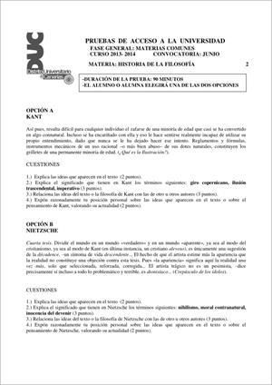 Examen de Selectividad: Historia de la filosofía. Comunidad Canaria. Convocatoria Junio 2014