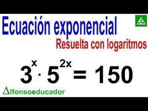 Ecuación exponencial resuelta con logaritmos