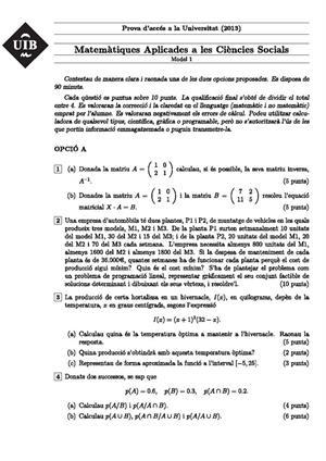 Examen de Selectividad: Matemáticas CCSS. Islas Baleares. Convocatoria Junio 2013