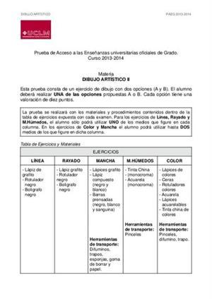 Examen de Selectividad: Dibujo artístico. Castilla-La Mancha. Convocatoria Junio 2014