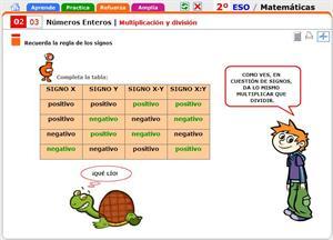 Multiplicación y división de números enteros. Matemáticas para 2º de Secundaria