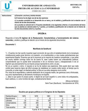 Examen de Selectividad: Historia de España 2. Andalucía. Convocatoria Junio 2012