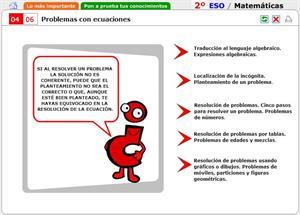 Problemas con ecuaciones. Autoevaluación. Matemáticas para 2º de Secundaria