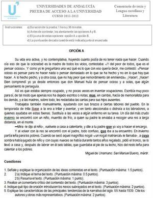 Examen de Selectividad: Lengua castellana y Literatura 3. Andalucía. Convocatoria Junio 2012