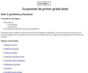 Test: ecuaciones con paréntesis y fracciones