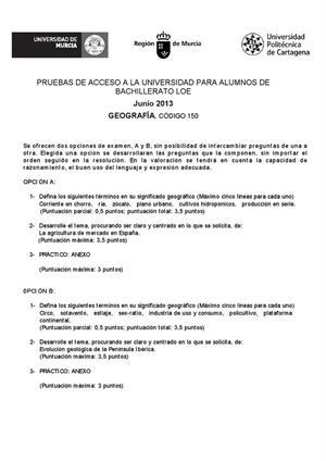 Examen de Selectividad: Geografía. Murcia. Convocatoria Junio 2013