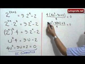 Ecuación exponencial solucionada con cambio de variable (JulioProfe)