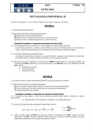 Examen de Selectividad: Tecnología industrial. Galicia. Convocatoria Junio 2013