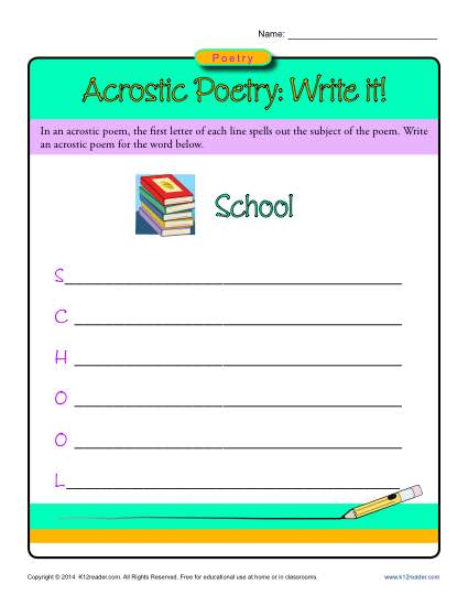 Acrostic Poetry Worksheet Activity: Write It!