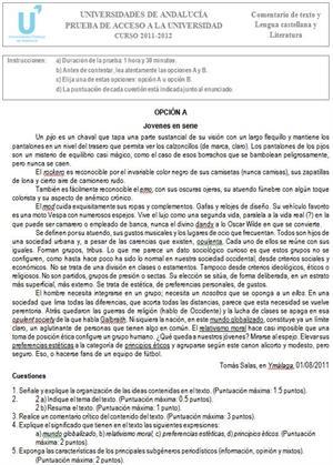 Examen de Selectividad: Lengua castellana y Literatura 1. Andalucía. Convocatoria Junio 2012