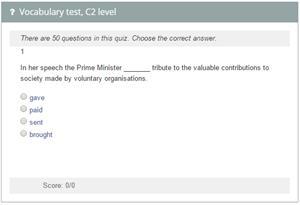 Vocabulary test, C2 level.  Cambridge English Proficiency (examenglish.com)