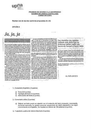 Examen de Selectividad: Lengua castellana y su Literatura. Navarra. Convocatoria Julio 2013