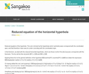 Reduced equation of the horizontal hyperbola