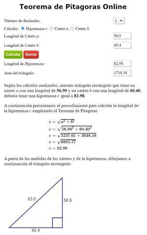 Calculadora Teorema de Pitágoras Online paso a paso