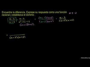Suma y resta de expresiones racionales 3 (Khan Academy Español)