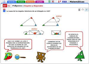Ángulos y diagonales. Matemáticas para 1º de Secundaria