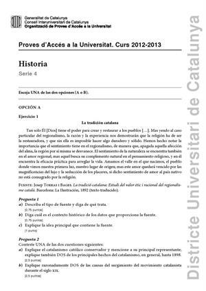 Examen de Selectividad: Historia de España. Cataluña. Convocatoria Junio 2013