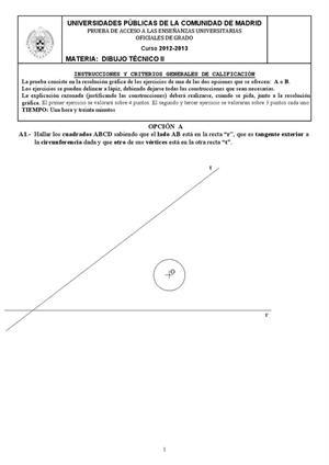 Examen de Selectividad: Dibujo técnico. Madrid. Convocatoria Septiembre 2013