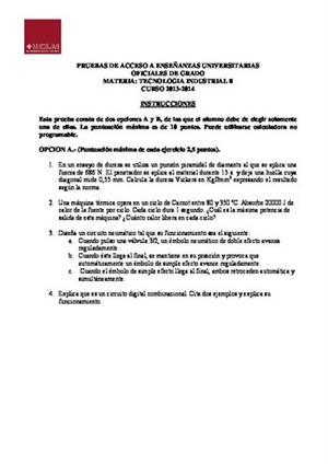 Examen de Selectividad: Tecnología industrial. Castilla-La Mancha. Convocatoria Junio 2014