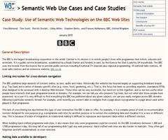 Case Study: Use of Semantic Web Technologies on the BBC Web Sites