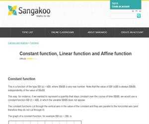 Constant function, Linear function and Affine function