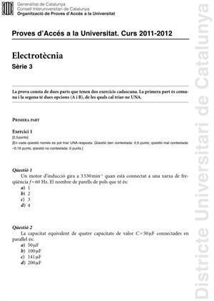 Examen de Selectividad: Electrotecnia. Cataluña. Convocatoria Junio 2012
