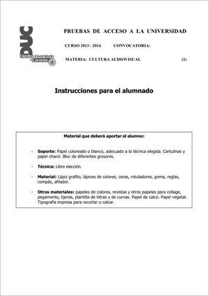 Examen de Selectividad: Cultura audiovisual. Comunidad Canaria. Convocatoria Junio 2014