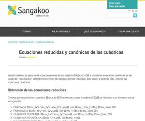 Ecuaciones reducidas y canónicas de las cuádricas