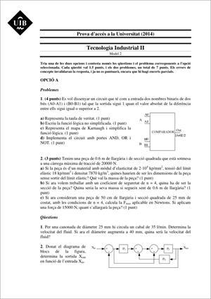 Examen de Selectividad: Tecnología industrial. Islas Baleares. Convocatoria Junio 2014