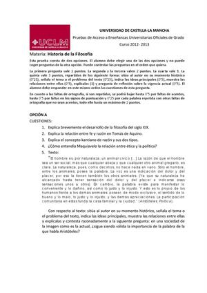 Examen de Selectividad: Historia de la filosofía. Castilla-La Mancha. Convocatoria Junio 2013