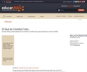 El final de Cristóbal Colón (Educarchile)