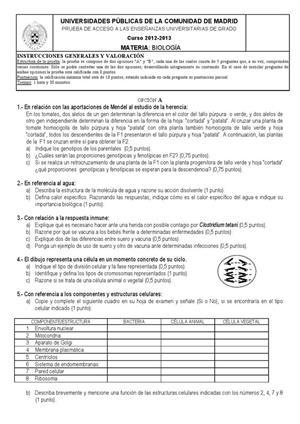 Examen de Selectividad: Biología. Madrid. Convocatoria Septiembre 2013