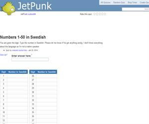 Numbers 1-50 in Swedish