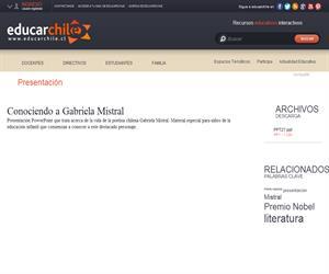 Conociendo a Gabriela Mistral (Educarchile)