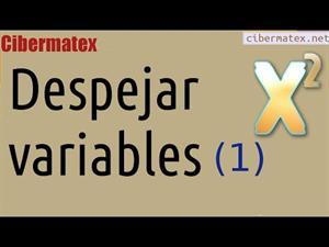 Despejar variables/incógnitas en una expresión. Ejercicio 1. Cibermatex