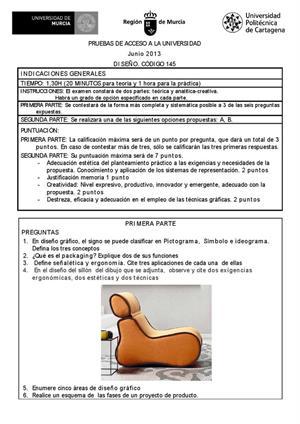 Examen de Selectividad: Diseño. Murcia. Convocatoria Junio 2013