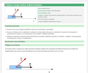 Trabajo y energía cinética. Software Modellus