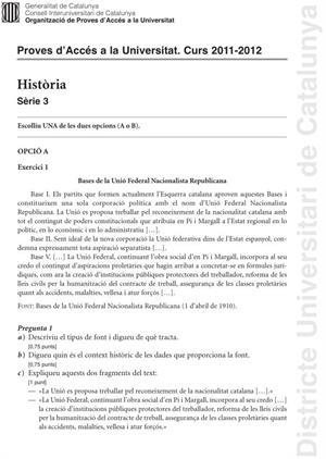 Examen de Selectividad: Historia. Cataluña. Convocatoria Junio 2012
