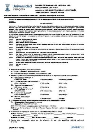 Examen de Selectividad: Portugués. Aragón. Convocatoria Junio 2014