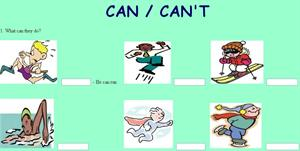 Exercises with Can and Can't (englishexercises.org)