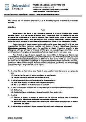 Examen de Selectividad: Francés. Aragón. Convocatoria Junio 2014