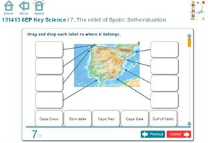 The relief of Spain: Self-evaluation. Inglés 6º Primaria (SM)