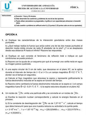 Examen de Selectividad: Física 1. Andalucía. Convocatoria Junio 2012