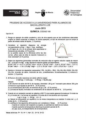 Examen de Selectividad: Química. Murcia. Convocatoria Junio 2013