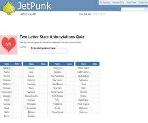 Two Letter State Abbreviations Quiz