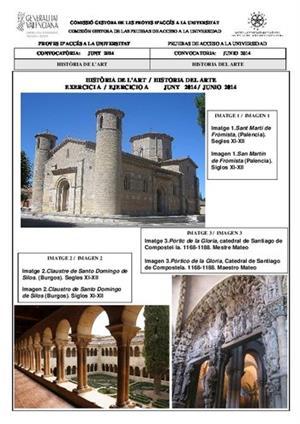 Examen de Selectividad: Historia del arte (Anexos). Comunidad Valenciana. Convocatoria Junio 2014
