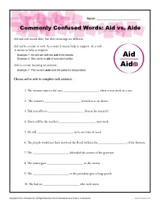 Commonly Confused Words Worksheet: Aid vs Aide